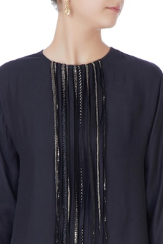 Black tassel top & embellished pants