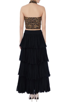 Black bustier & tiered maxi skirt