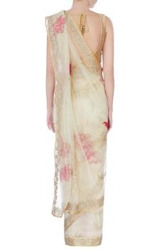 Ecru floral sari with blouse-piece & petticoat