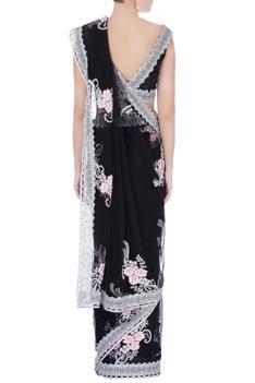 Black sequin sari with blouse & petticoat