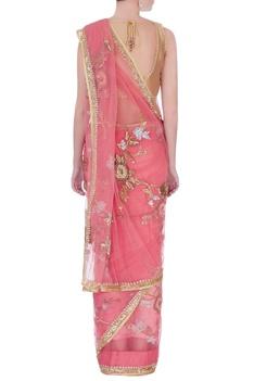 Pink sequin embellished sari & blouse-piece