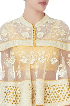 Yellow banarasi silk lehenga set