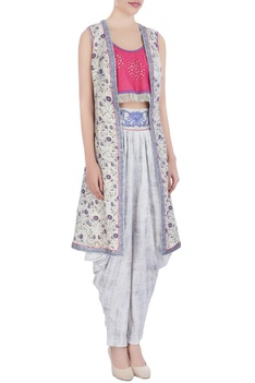 Pink crop top & dhoti pants