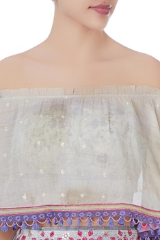 Beige off-shoulder blouse, bralette & lehenga