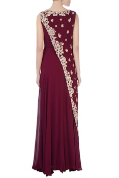 Burgundy layered sequin gown