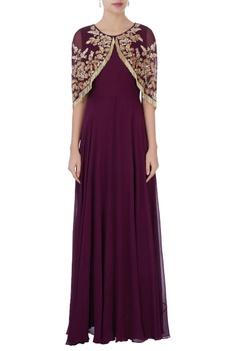 Burgundy gown with tassel cape