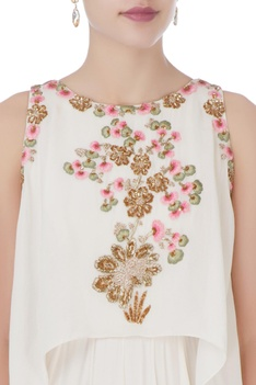 White floral embroidered layered gown