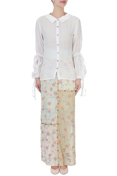 Multicolored skirt with white shirt
