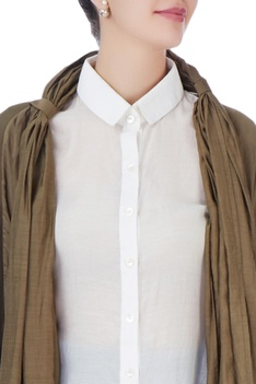Brown jacket with white back tie up shirt