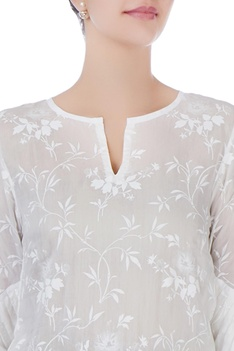 White printed & pleated top