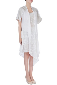 White printed asymmterical dress with jacket
