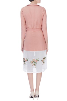 Peach dress with embroidered work