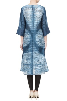 Blue printed silk tunic