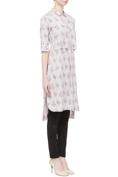 Grey shirt style kurta