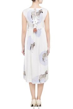 White zebra printed midi dress