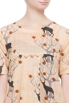 Light orange reindeer printed top