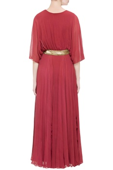 Red pleated style gown