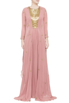 Pink flowy double layered gown