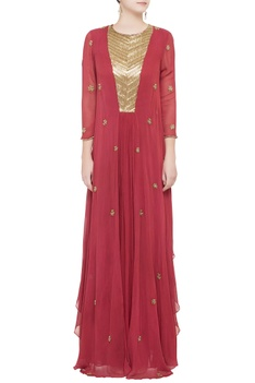Red double layer gown