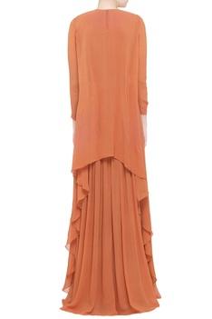 Orange georgette flowy gown