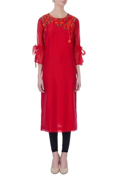 Red kurta with tie-up sleeves