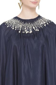 Blue asymmetric silk cape tunic