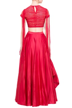 Red silk lehenga & embroidered blouse