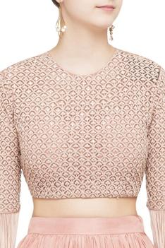 Onion pink lehenga & tassel blouse