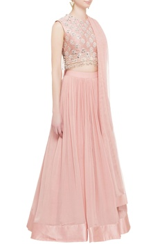 Pink embroidered blouse & lehenga with dupatta