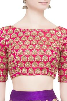 Pink blouse with purple lehenga & dupatta