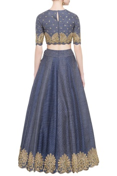 Blue lehenga set in gold sequin work