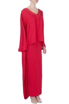 Red silk top & maxi skirt