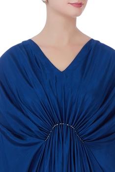 Blue habutai silk pleated dress