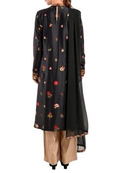 Black floral kurta set