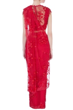 Red floral lace sari with blouse