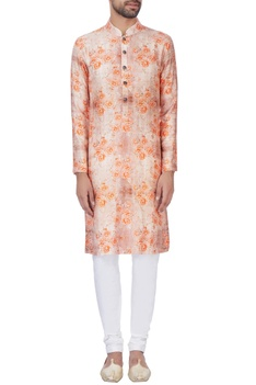Orange raw silk kurta & churidar