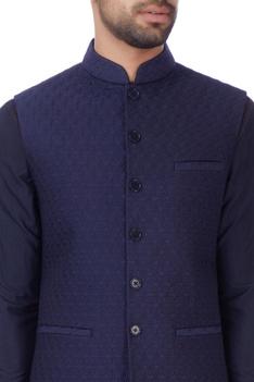 Blue floral quilted nehru jacket