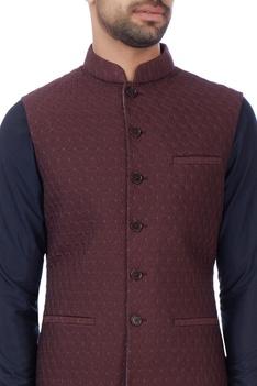 Burgundy brown floral nehru jacket