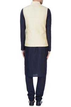 Ecru beige quilted nehru jacket