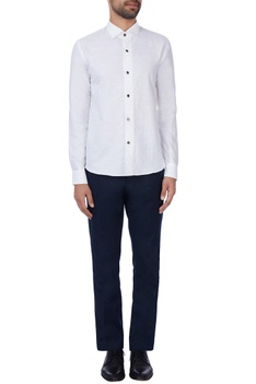 White cotton button-down shirt