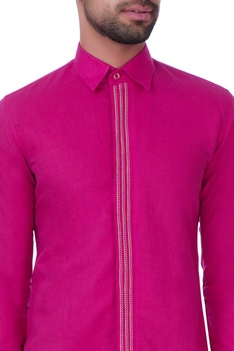 Hot pink lace casual shirt