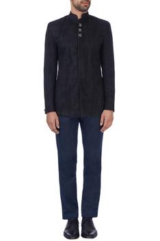 Black laser cut nehru jacket