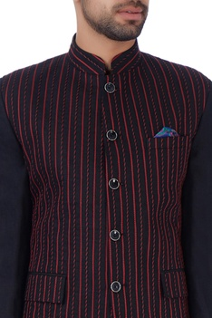 Black pintuck embroidered nehru jacket