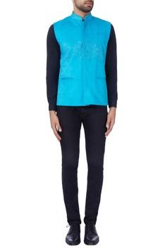 Turquoise blue laser-cut nehru jacket