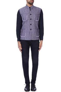 Blue thread embroidered nehru jacket