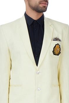 Custard yellow zardosi embroidered jacket