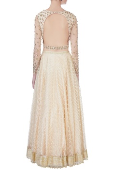 Cream sequin embroidered lehenga