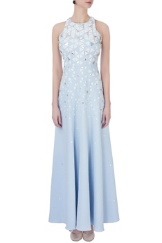 Blue crepe silk applique gown
