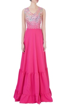 Pink gown in silver applique work