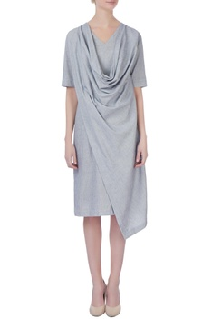 Grey ripped cowl dress